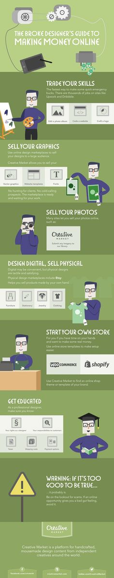 Infographic: The Broke Designer's Guide To Making Money Online - DesignTAXI.com