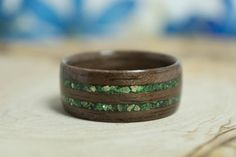 Walnut Bentwood Ring with double Green Glass by SummerwoodCharm