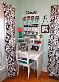 What a lovely little craft spot! Loving the decor words and curtains! ... okay EVERYTHING about it!