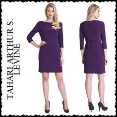 Tahari Arthur S. Levine Knit Sheath Dress Multi-panel sheath, featuring a rounded neckline, 3/4 length sleeves and straight skirt. Polyester/Spandex. Color: Purple Size: 10 Tahari Dresses