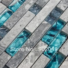 Blue shell strip stone mosaic crystal glass tile background wall SH-28 $7.58