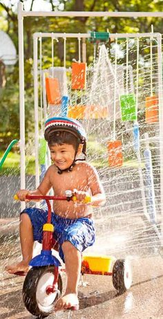 A kiddie car wash is perfect for cooling off kids and spraying down bikes. Make one with PVC for approximately $22.  Accessorize with sponges, paint rollers, mops, and even a sprinkler.