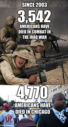 Since 2003 3,542 Americans have died in combat in the Iraq war. 4,770 Americans have died in Chicago.