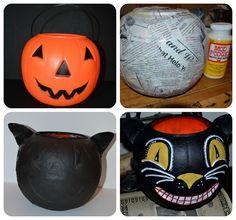 Vintage Style Folk Art Black Cat Halloween Bucket (made from a $1 plastic pumpkin) | DIY