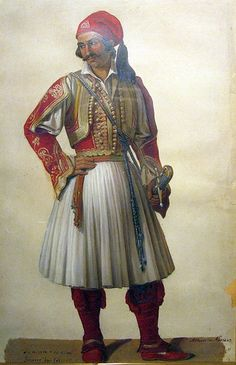 """Fighter watercolour of Sherer, Athens Historical Museum… Greek Traditional Dress, Traditional Fashion, Traditional Art, National Historical Museum, Greek Independence, Albanian Culture, Greek Warrior, Greek History, In Ancient Times"
