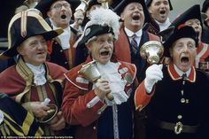 Hear ye! Men in Hastings, East Sussex, compete in a town criers' contest