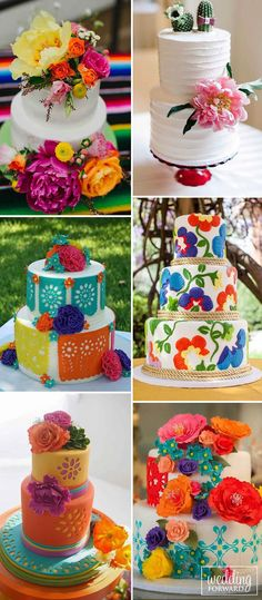 42 Exciting & Colourful Mexican Wedding Cake Ideas 24 Mexican Wedding Cake Ideas ❤ Mexican wedding cake has to be colorful, reflects your personality, decorated with fresh flowers and be yummy. See more: www. Wedding Cake Toppers, Wedding Cakes, Wedding Venues, Wedding Ideas, Wedding Vows, Wedding Bible, Wedding Rings, Wedding Officiant, Wedding Wishes