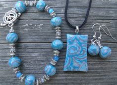 3 piece Turquoise and Silver Polymer Clay by clayandbeads4me, $35.00