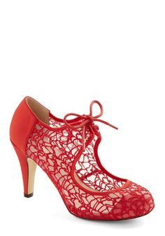 To Thee I Web Heel in Red. Your besties wedding is a breathtaking affair made all the more magical by the image of you walking down the aisle in these red heels! #gold #prom #modcloth