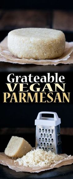 Grateable Vegan Parmesan Cheese - Recipes to Make - Vegan Cheese Recipes, Vegan Parmesan Cheese, Vegan Sauces, Vegan Foods, Vegan Dishes, Dairy Free Recipes, Raw Food Recipes, Vegan Lunches, Parmesan Recipes