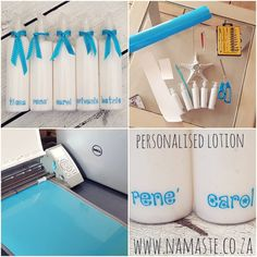 Personalised Vinyl on Lotion Namaste, Lotion, Stickers, Bottle, Shop, Products, Flask, Lotions, Sticker