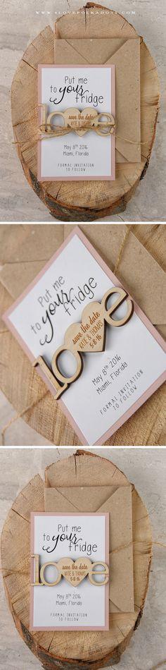 Love <3 Save the Date Card with Wooden Magnet #weddingideas #savethedate #rustic #countryweddingideas
