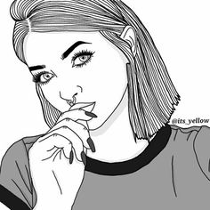 art, drawings, and girl kép Tumblr Girl Drawing, Tumblr Drawings, Girl Drawing Sketches, Dark Art Drawings, Cute Drawings, Girl Drawings, Tumblr Outline, Outline Art, Outline Drawings