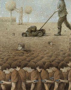 """Elartista polaco Pawel Kuczynski esuno delos maestros desátira más memorables delamodernidad. Ensus obras, toca temas delapobreza, las guerras despiadadas, lacrueldad yotros vicios que, como una enfermedad, contagiaron alasociedad moderna. Usando lasátira, Pawel Kuczynski busca abrirles los ojos alas personas sobre los temas actuales. """"Simplemente intento usar los símbolos que todo elmundo entiende"""", dice elartista."""
