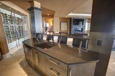 Quartz Bar countertop with steel brackets