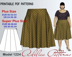 Plus size Gored Skirt Sewing Pattern sizes 24-34 | Craftsy