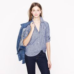 polka dotted chambray popover shirt. because j.crew just can't help but be awesome.