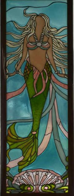 Sidelit to tub, divider, door Stained Glass Paint, Stained Glass Crafts, Stained Glass Designs, Stained Glass Patterns, Mermaid Outline, Mermaid Art, Mosaic Glass, Glass Art, Seahorse Art