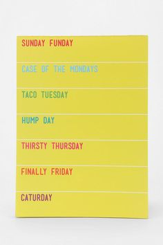 Day Of The Week Notepad #urbanoutfitters