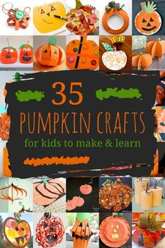 Lots of pumpkin crafts for kids to create, including pumpkins with Jack-O'-Lantern faces! Plus there's crafty ways to get the kids learning with pumpkins! pinned by – Please Visit for all our pediatric therapy pins Pumpkin Crafts Kids, Autumn Crafts, Halloween Crafts For Kids, Crafts For Kids To Make, Halloween Activities, Autumn Activities, Holiday Crafts, Art For Kids, Kids Crafts