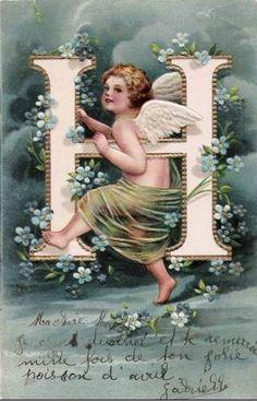 """H"" ~ Vintage Angel Alphabet Postcard, ca. 1900s"