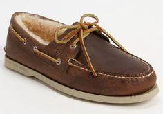 Men's winter furry inside boat shoes! #Preppy