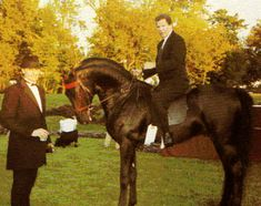William Shatner of Star Trek fame riding his famous stallion, Sultan's Great Day.  Joe Sysel is left.