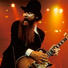 """Billy Gibbons of ZZTop-""""Gibbons' guitar work has been religiously true, in its thunderbolt attack and melodic concision, to his Texas forebears (Freddy King, Albert Collins) and the electric-Delta charge of Muddy Waters. """"You can definitely make someone wiggle in their seat a little bit,"""" Gibson says of his solos, """"if you know where you're heading with it and end up there.""""rollingstone.com"""
