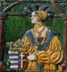 Porträt    Königin Anna von Jagellon    (?)     Dieses Bild: 013741      Kunstwerk: Töpferarbeit-Keramik ; Einrichtung profan ; Ofenkachel ; Ungarn   Dokumentation: 1530 ; 1530 ; Budapest ; Ungarn ; Iparmüveszeti Muzeum ; IN 48. 25