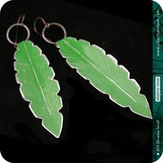 adaptive reuse jewelry -- Spring Green Leaves --   Upcycled Tin Earrings by christineterrell, $32.00