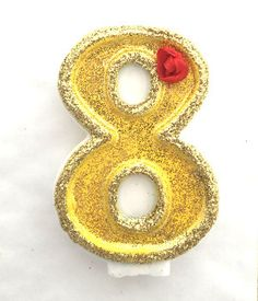Beauty and The Beast Birthday Candle.  Beautiful # number candle, hand painted…