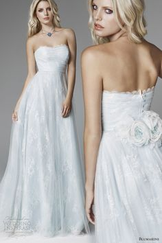 blumarine sposa 2013 pale blue wedding dress strapless