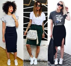 Bleistift-Rock casual-outfits - Mode als lifestyle Black Pencil Skirt Outfit, Black Skirt Outfits, Pencil Skirt Casual, Modest Outfits, Outfits With Pencil Skirts, Outfit With Skirt, Summer Skirt Outfits, Casual Summer Outfits For Work, Casual Wear