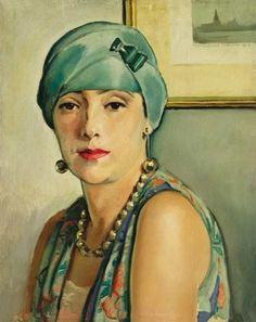Istvan  Zador (1882-1963). Woman with Art Deco Earrings (1928)