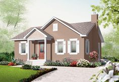 House Plan 76181   Bungalow    Plan with 896 Sq. Ft., 2 Bedrooms, 1 Bathrooms