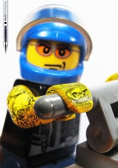 PILOT extra fine pens (2.95$ ), demonstreting its capabilities by covering six LEGO minifigures with detailed full body tattoos. How cool is that