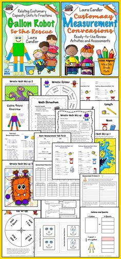 Customary Measurement Combo - Includes Gallon Robot to the Rescue and Customary Measurement Conversions. Lessons, games, task cards, printables, and more! $