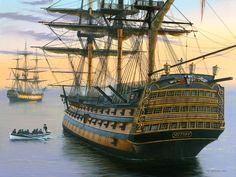 HMS Victory, Lord Nelson's flagship at the Battle of Trafalgar shown in historical naval art prints. HMS Victory in naval paintings by naval artists Brian Wood, Graeme Lothian, Bill Bishop, Geoff Hunt and Robert Taylor. Poder Naval, Bateau Pirate, Pirate Boats, Old Sailing Ships, Hms Victory, Ship Of The Line, Man Of War, Ship Paintings, Wooden Ship