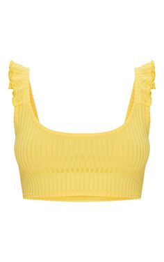 Head online and shop this season's range of tops at PrettyLittleThing. Yellow Clothes, Yellow Outfits, Ripped Jeans Outfit, Yellow Sandals, Yellow Crop Top, Summer Outfits, Cute Outfits, Vintage Tops, Yellow