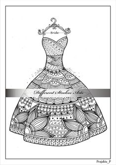 Zentangle Coloring Pages Valentines Page For AdultsZentangle Wedding Dressintricate Henn