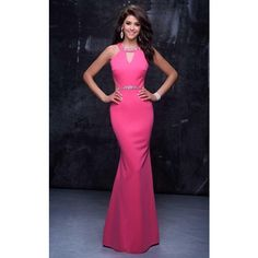 Nina Canacci 1274 Prom Dress 2017 Long Halter Sleeveless ($258) ❤ liked on Polyvore featuring dresses, gowns, formal dresses, hot pink, blue ball gown, formal gowns, blue prom dresses, formal evening dresses and long formal dresses