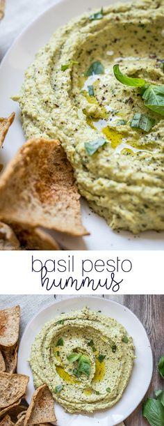 Deliciously savory basil pesto hummus.