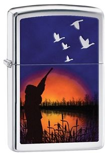 Celebrate the beauty of duck hunting with this color imaged design. Comes packaged in an environmentally friendly gift box. For optimal performance, use with Zippo premium lighter fluid.
