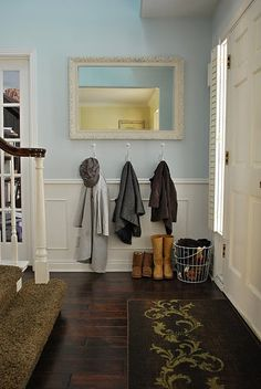 pale blue paint: benjamin moore in your eyes. Hook/storage wall in mudroom area Entryway Hooks, Entry Foyer, Entryway Ideas, Front Entry, Open Entryway, Organized Entryway, Entryway Mirror, Pale Blue Paints, Porches