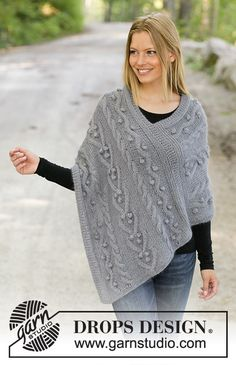 Videira - Knitted poncho in 1 strand DROPS BabyAlpaca Silk and 1 strand DROPS Kid-Silk. Piece is knitted back and forth with cables and bobbles. Size: S - XXXL Free knitted pattern DROPS Drops Design, Knitting Patterns Free, Knit Patterns, Free Knitting, Baby Knitting, Knit Cowl, Knitted Poncho, Drops Kid Silk, Cotton Lace