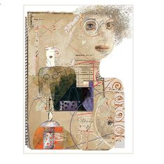jacqui wegren - mixed media: 'Girl with Brown Hair'