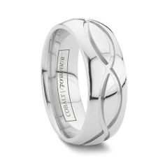 DUBLIN 6MM/8MM A unique cobalt wedding band that displays your forever bond for all to see. The DUBLIN is a high polished domed band with deep cut grooves looking like an interconnected and continuous pattern of infinity symbols. This 6mm and 8mm band is durable and like it