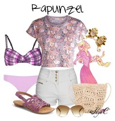 """Rapunzel - Summer / Beach - Disney's Tangled"" by rubytyra ❤ liked on Polyvore featuring Venice Beach, River Island, Jane Norman, Pieces, Scoop, Børn, Jimmy Choo, Elizabeth Locke, women's clothing and women"