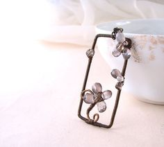 Gemstone flower smoky gray antiqued brass wire by shadowjewels