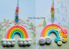 #Rainbow car rear view mirror dangle charm chain #hanging ornament #polymer clay,  View more on the LINK: http://www.zeppy.io/product/gb/2/391518705700/